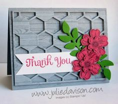 Flower Shop Petite Petals Garden Thank You Card with Hardwood Background and Hexagon Hive Thinlit www.juliedavison.com