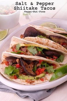 Salt and Pepper Shiitake Tacos - A healthy vegan taco with tons of flavor. Sautéed shiitake mushrooms topped with a spicy onion and pepper mixture that is sure to delight any taco enthusiast! Vegan Mexican Recipes, Vegan Recipes, Ethnic Recipes, Mexican Meals, Vegan Food, Vegan Tacos, Healthy Tacos, Stuffed Mushrooms, Stuffed Peppers