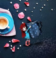 * Coffee Time Art by Cinzia Bolognesi via Facebook