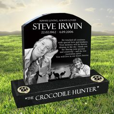 Steve Irwin laser etched black granite headstone designed by Forever Shining