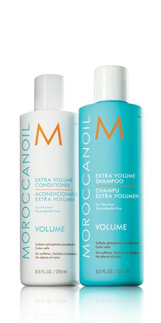 Extra Volume Shampoo and Conditioner contain antioxidant argan oil and nutrients to cleanse, detangle and bring back body to hair. They beautify hair with shine, manageability and movement, while making it easier to style.