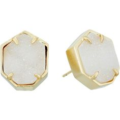 Kendra Scott Taylor Earrings (Gold/Iridescent Drusy) Earring (185 BRL) ❤ liked on Polyvore featuring jewelry, earrings, accessories, joias, silver, druzy earrings, yellow gold earrings, gold druzy earrings, gold jewelry and drusy earrings