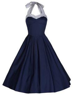 Lindy Bop Women's 'Carola' Vintage 1950's Rockabilly Halter Neck Swing Dress (S, Blue) Lindy Bop http://www.amazon.com/dp/B00I7QMMO6/ref=cm_sw_r_pi_dp_mujbvb0331M2G