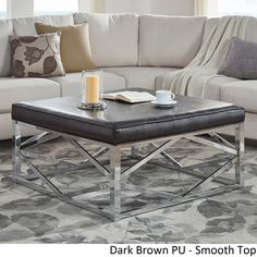 Solene Geometric Base Square Ottoman Coffee Table - Chrome by iNSPIRE Q Bold ([Dark Brown PU]- Smooth Top), Size Medium (Fabric)