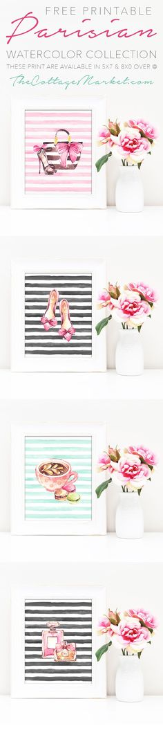 """Free Printable Parisian Watercolor Collection  A Collection of 4 Free Printable guaranteed to make you smile and add a touch of """"pretty"""" to your space."""