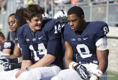PENN STATE – FOOTBALL 2013 – Penn State quarterback Christian Hackenberg and wide receiver Allen Robinson hang out on the bench during the first quarter at Beaver Stadium. Penn State beat Purdue, 45-21. Joe Hermitt, PennLive.com