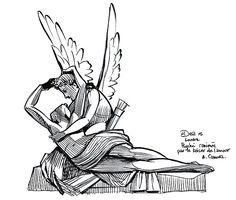 Psyche Revived By Eros' Kiss Drawing by Patrick Dea Cupid Drawing, Kissing Drawing, Kiss Illustration, Cupid Tattoo, Eros And Psyche, Kiss Tattoos, Cupid Love, Dibujos Tattoo, Kiss Art