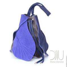 """Рюкзаки ручной работы. Ярмарка Мастеров - ручная работа. Купить торба """"Тюльпан"""". Handmade. Синий, однотонный, рюкзак кожаный"""