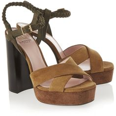 Lanvin Suede platform sandals, Women's, Size: 37.5 (£165) ❤ liked on Polyvore featuring shoes, sandals, woven sandals, suede platform sandals, braided sandals, block heel ankle strap sandals and olive green sandals