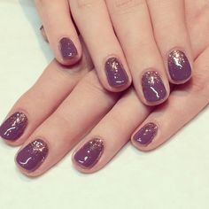 Calgel nails. Purple with graduated glitter x