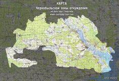 Подробная карта Чернобыльской зоны отчуждения.