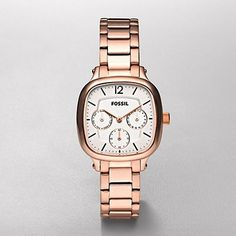 a watch like this: Multifunction Rose Gold Tone White Dial Watch by Fossil - $125
