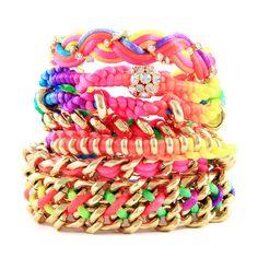 Neon Bracelet Stack from Ettika Neon Accessories, Fashion Accessories, Fashion Jewelry, Diy Jewelry, Jewelery, Jewelry Box, Bling Jewelry, Jewelry Making, Arm Candy Bracelets