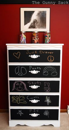 DIY Decorated Chalkboard Paint Dresser. Found at The Gunny Sack here. No real tutorial - but lots of photos of before chalk and after and of her makeovers. I wish I had the courage to do this on a huge piece - but I'm not there yet.