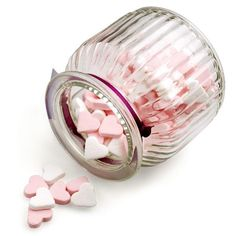 Rosa und weiße Herzen mit Pfefferminzgeschmack als originelles Gastgeschenk, Deko oder für die Candybar
