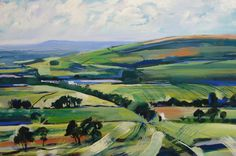 A Painting of the The view over Lancashire from Rivington Pike - original painting by David Pott