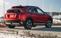 Download wallpapers Mitsubishi Eclipse Cross, 2018, 4k, rear view, new crossover, Japanese cars, Mitsubishi