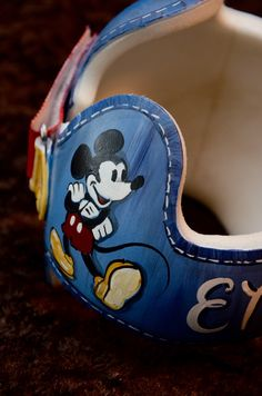 Mickey Mouse Denim detail DOC band/cranial band/helmet  https://www.facebook.com/Cranial-BandsMurals-by-Leigh-Gibson-153150921414230/