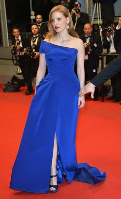 Jessica Chastain was stunning in blue Dolce & Gabbana at the premiere of her film The Disappearance Of Eleanor Rigby.