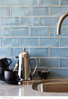 "Would love to redo the backsplash in our kitchen! Beautiful blue handmade tile backsplash Cafe Collection subway tile in ""water"" Kitchen And Bath, New Kitchen, Kitchen Ideas, Kitchen Grey, Kitchen Stuff, Kitchen Decor, Deco Cafe, Decoration Chic, Blue Tiles"