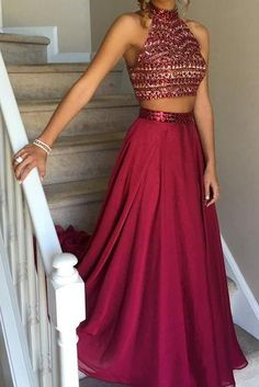 Two Piece Burgundy Prom Dresses A-line High Neck Rhinestone Long Sexy Evening Dress Long Hot Formal Gowns Classy Prom Dresses, Prom Dresses Two Piece, A Line Prom Dresses, Grad Dresses, Black Prom Dresses, Homecoming Dresses, Formal Dresses, Prom Gowns, Party Dresses