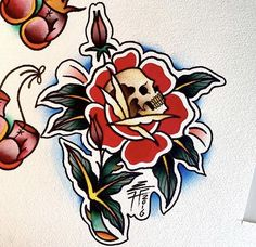 Traditional skull inside a rose tattoo design, by Liam Harbison