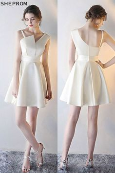 Shop Champagne Short Homecoming Party Dress with Asymmetrical Straps online. SheProm offers formal, party, casual & more style dresses to fit your special occasions. Trendy Dresses, Nice Dresses, Short Dresses, Fashion Dresses, Simple Homecoming Dresses, Prom Dresses, Reception Dresses, Formal Dresses, Dress Patterns