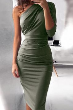One Shoulder Scrunch Self-belted Bodycon Dress – streetstylepop Evening Dresses Online, Party Dresses Online, Dress Online, Girly Outfits, Classy Outfits, Work Outfits, Cheap Party Dresses, Plain Dress, Bodycon Dress With Sleeves