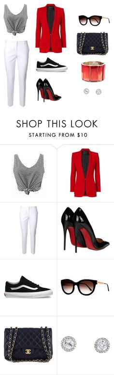 """Day to night"" by angelakelly-2 ❤ liked on Polyvore featuring Barbara Bui, Alberto Biani, Christian Louboutin, Vans, Thierry Lasry, Chanel, Oscar de la Renta and stripedshirt"