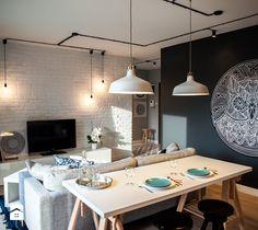 Gdańsk. Chmielna - Średni salon z jadalnią, styl nowoczesny - zdjęcie od Raca Architekci