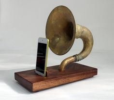 The Horn-A-Phone - iHorn -- Large Brass Acoustic Speaker Upright Horn Dock -- Acoustic Speaker System Docking Station - $165