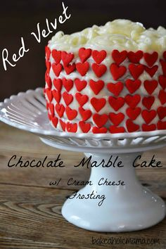 Red Velvet and Chocolate Marble Cake with Cream Cheese Frosting for Two via @BakeaholicMama goo