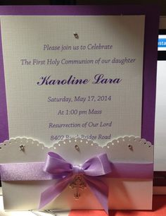First communion invitation.