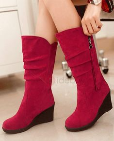 f1aaf3506c3 New Riding Boots Womens Suede Wedge Heels Side Zip Knee High Boots Casual  Shoes