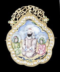A rare Qajar diamond-set enamelled gold Miniature Portrait depicting Imam 'Ali kneeling with his sons Hassan and Hussain, and holding dhu'l-faqar, Persia, mid 19th Century