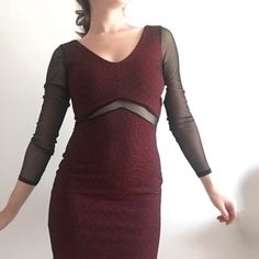 Charlotte Russe Mesh Bodycon Dress Charlotte Russe Mesh Bodycon Dress * New Condition / New With Tags NWT * 95% Polyester / 5% Spandex * Extra Small * Red / Black / Burgundy   Styling tip: Wear with a cute pair of black heels 👠   Please, no trades, reasonable offers will be considered, & will ship within 1 business day ✨   5/16: uO30p21LO12-6m7 Charlotte Russe Dresses Mini