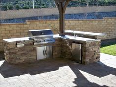 Traditional Outdoor Kitchen in Clovis - cinder block privacy walls, counter mount grill Backyard Bbq Outfit Ideas, Patio Ideas, Landscaping Ideas, Fireplace Insert Installation, Bbq Outfits, Exterior Solutions, Grill Gazebo, Pergola, Wood Burning Fireplace Inserts
