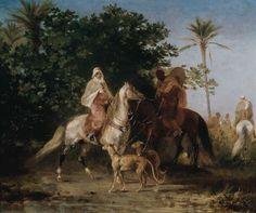 Algérie - Peintre françaisEugène Fromentin(1820 - 1876) ,Huile sur panneau , Titre : Préparation à la chasse