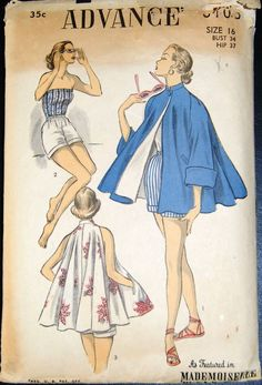 Vintage Original Advance 40's Playsuit/Beachcoat Pattern No. 6103
