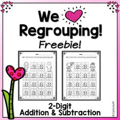 Put a bit of holiday fun into double-digit regrouping practice with this Valentine's Day freebie! This set includes two worksheets, one each for double-digit addition and double-digit subtraction. Perfect for centers or small groups, or Subtraction With Regrouping Worksheets, Subtraction Activities, Math Activities, Math Addition, Addition And Subtraction, Daily Math, Math 2, Math Class, Second Grade Math
