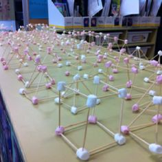 Making 3D shape models with marshmallows and toothpicks - kids loved it!