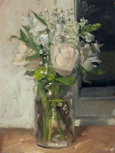 a painting a day by Duane Keiser: White Bouquet and Window at Night, 4/30/2104