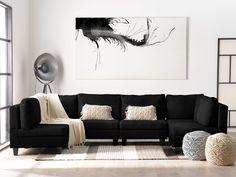 -Veelzijdige, modulaire hoekbank in moderne stijl-  Creëer je eigen zitplek! Deze bank bestaat uit meerdere modules waarmee je eindeloos kunt combineren. Verbind ze om een langwerpige of u-vormige hoekbank te vormen. De zachte bekleding van de zit- en rugkussens zorgt ervoor dat je lekker comfortabel kunt zitten. Voeg extra decoratieve kussens toe om een gezellige ontspanningsruimte te creëren voor bijzonder relaxte avonden voor de buis. Sectional Sofa Decor, Grey Sofa Decor, Sofa Skandinavisch, U Shaped Sectional Sofa, Sofa Uk, Dark Grey Sectional, Dark Gray Sofa, Corner Sofa With Ottoman, Grey Corner Sofa