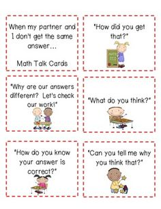 MATH TALK CARDS--FREEBIE!!! - TeachersPayTeachers.com