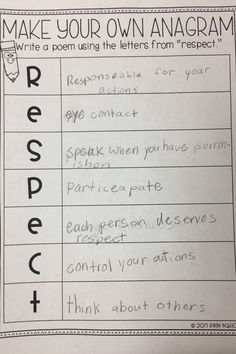 A classroom lesson on respect. Filled with printables, discussion starters, and writing prompts. Responsibility Lessons, Respect Lessons, Guidance Lessons, Narrative Writing Prompts, Writing Prompts For Writers, Picture Writing Prompts, Writing Skills, Behavior Reflection, School Social Work