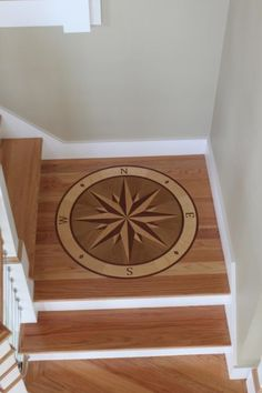 Just one benefit of working for a building company is I get to see really cool finished work    Check out this wooden inlay Compass Rose. Nautical, dude