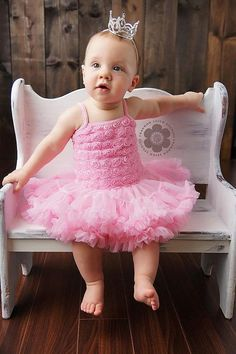 Pink Vintage Insprired Rosette Tutu Dress by NordeensBabyCouture