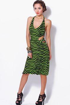 #clubwear21.com #dress #fashion green/black striped cut out backless fitted midi dress-$69.00