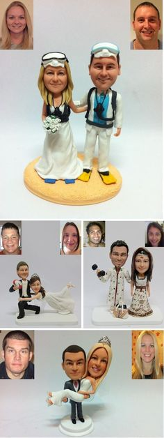 OMG they can put your faces on them!  LOL!  Unique wedding cake toppers; My Mini You #weddingcakes