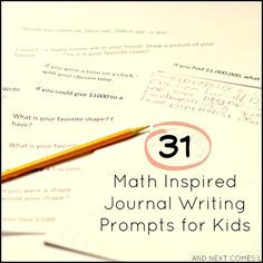 31 math inspired journal writing prompts for kids with free printable